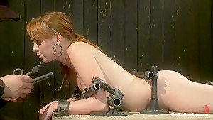 Red Hair Fair Skin - finger fucked, machine fucked, extreme nipple play, hot wax, hard caning.
