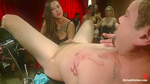 LIVE & PUBLIC slave humiliation, degradation, prostate milking with horny sadistic women!