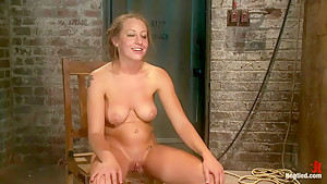 19yr old blond has breasts bound, is oiled, has massive orgasms ripped from her helpless body.