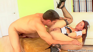 Sexy french maid Lizzie Tucker gets rammed hard