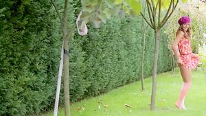 Gorgeous teen Guerlain spreading outside