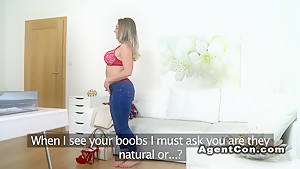 Big tits blonde model bangs in casting