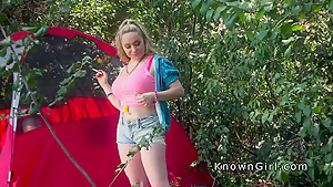 Hairy pussy busty blonde amateur bangs outdoor
