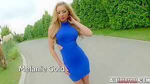 AllInternal Melanie Gold strips off a skin tight blue dress off her luscious thin body. She gets a big internal cumshot in her pussy.