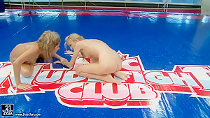 Hot teen girls are having naked sex fight