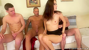 Lyen Parker jerks and sucks two cocks here
