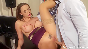 Chanel Preston and Ryan Driller office sex