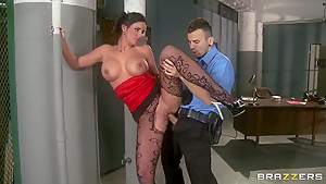Phoenix Marie handling a long police meat stick