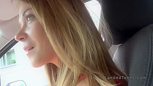 Teen fucks in woods in parked car pov