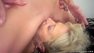 Alice Romain sits on the face of mature lady Malya