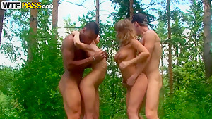 Hot group sex in the woods with some students