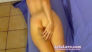 She strips down encourages u to stroke with dildo demo