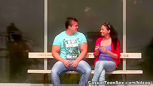 Hot teen sex on wooden table
