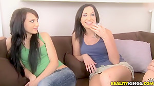Teen brunettes Nataly Von and Raffaella going to cuss out hot!