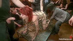 Redheaded Slut Ass Fucked at Crowded Party