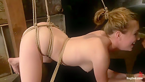 Horny 18 Year Old Slut Teased and Orgasmed in Tight Rope!