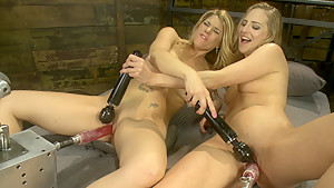 Exotic squirting, fetish porn movie with crazy pornstars Roxy Rox and Carissa Montgomery from Fuckingmachines