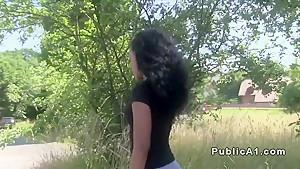 Ebony amateur flashing bum in public