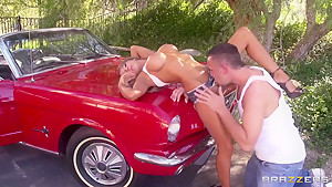A busty chick washes her car ... and more