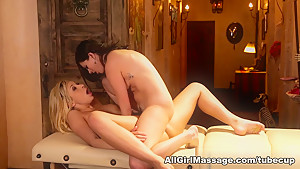 Fabulous pornstars Carmen Caliente, Shyla Jennings in Crazy Massage, Lesbian xxx movie