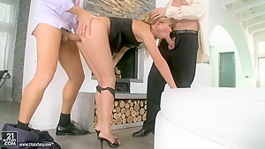 Nastie gets fucked hard by her lover and husband in the ass, pussy and mouth