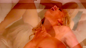 Julia Ann licking her friend's shaved vagina and drilling it