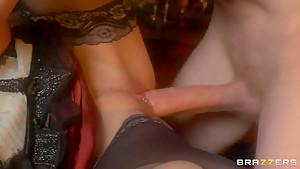 Sexu brunette prostitute Abbie Cat swallows big cock