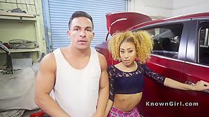 Ebony girlfriend cheating in car shop