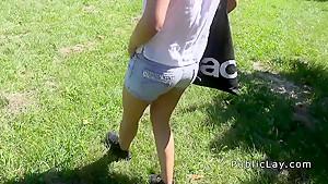 Brunette banging huge cock in bushes