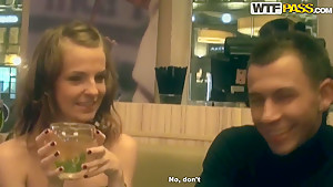 Dude seduces beauty to have sex in restaurant