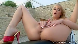 Blue Angel fingering her g-spot for a pleasure