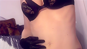Closeup masturbation in fishnet stockings and gloves