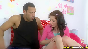 Dark skinned Carlo and hot brunette Jessi Palmer in action