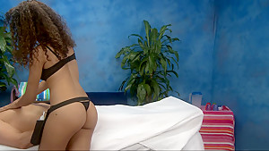 Curly teen giving quality massage